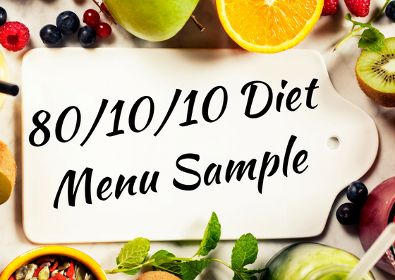 One day raw vegan 80/10/10 diet menu plan sample